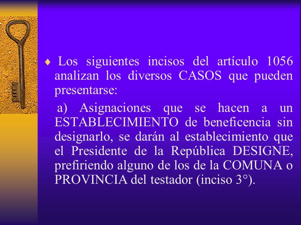 Los siguientes incisos del artículo 1056 analizan los diversos CASOS que pueden presentarse: