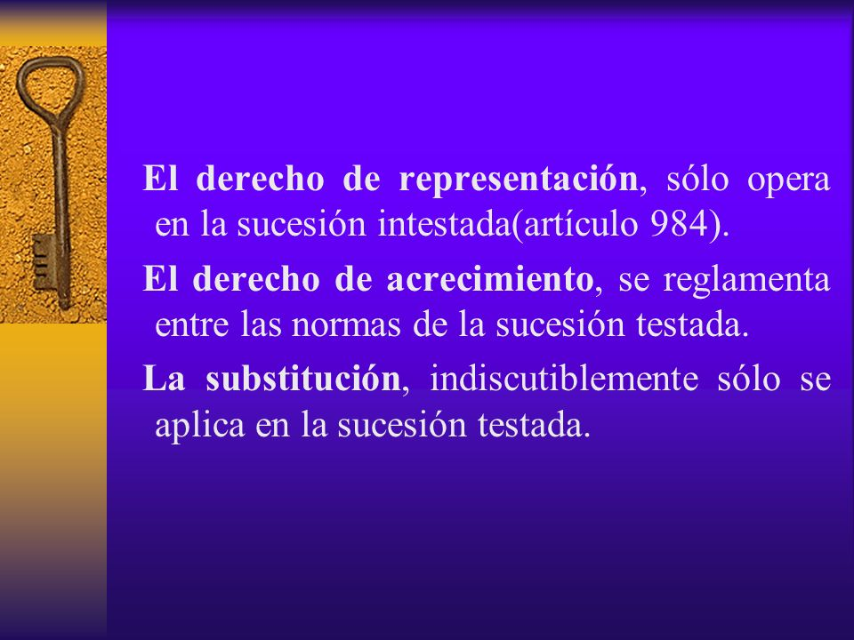 El derecho de representación, sólo opera en la sucesión intestada(artículo 984).