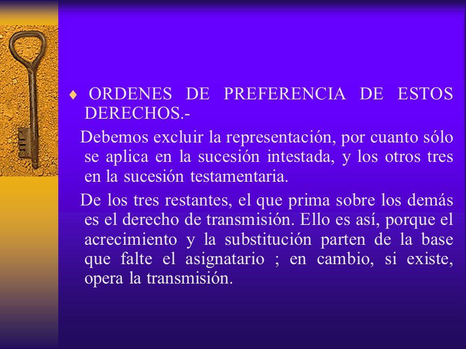 ORDENES DE PREFERENCIA DE ESTOS DERECHOS.-