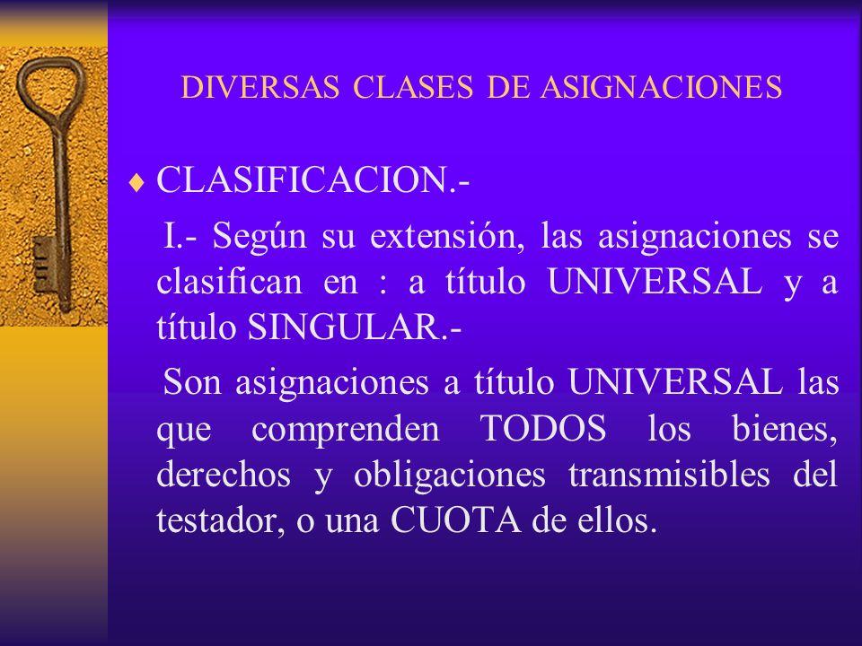 DIVERSAS CLASES DE ASIGNACIONES