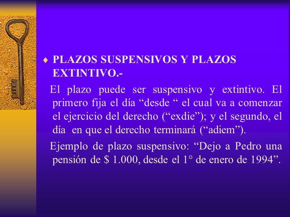 PLAZOS SUSPENSIVOS Y PLAZOS EXTINTIVO.-