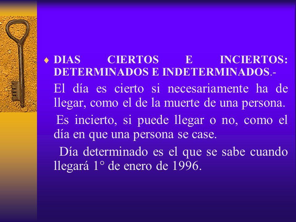 Día determinado es el que se sabe cuando llegará 1° de enero de 1996.