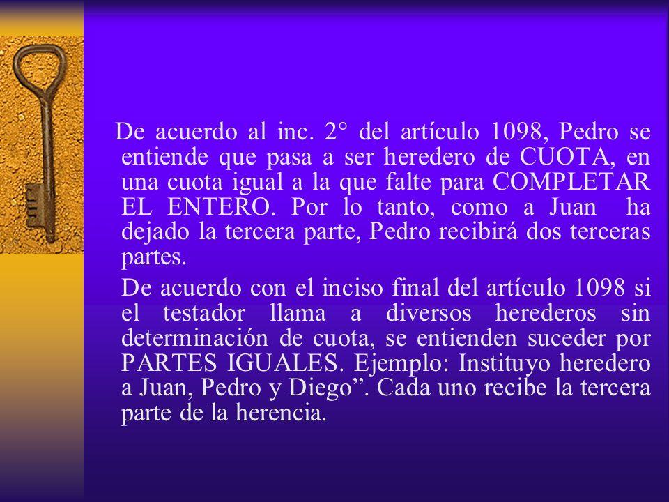 De acuerdo al inc. 2° del artículo 1098, Pedro se entiende que pasa a ser heredero de CUOTA, en una cuota igual a la que falte para COMPLETAR EL ENTERO. Por lo tanto, como a Juan ha dejado la tercera parte, Pedro recibirá dos terceras partes.