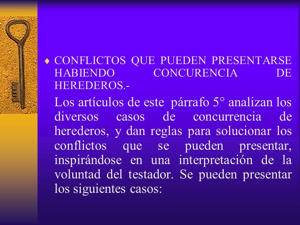 CONFLICTOS QUE PUEDEN PRESENTARSE HABIENDO CONCURENCIA DE HEREDEROS.-
