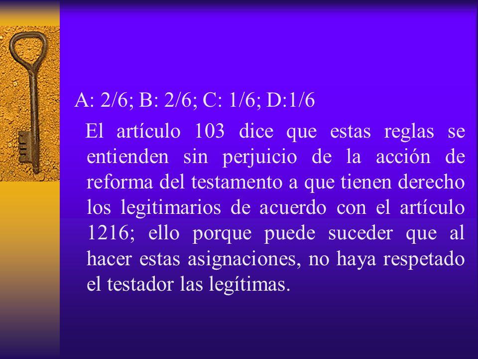 A: 2/6; B: 2/6; C: 1/6; D:1/6
