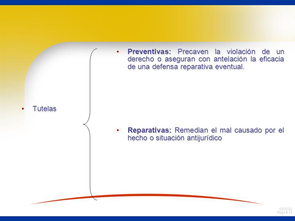 Preventivas: Precaven la violación de un derecho o aseguran con antelación la eficacia de una defensa reparativa eventual.