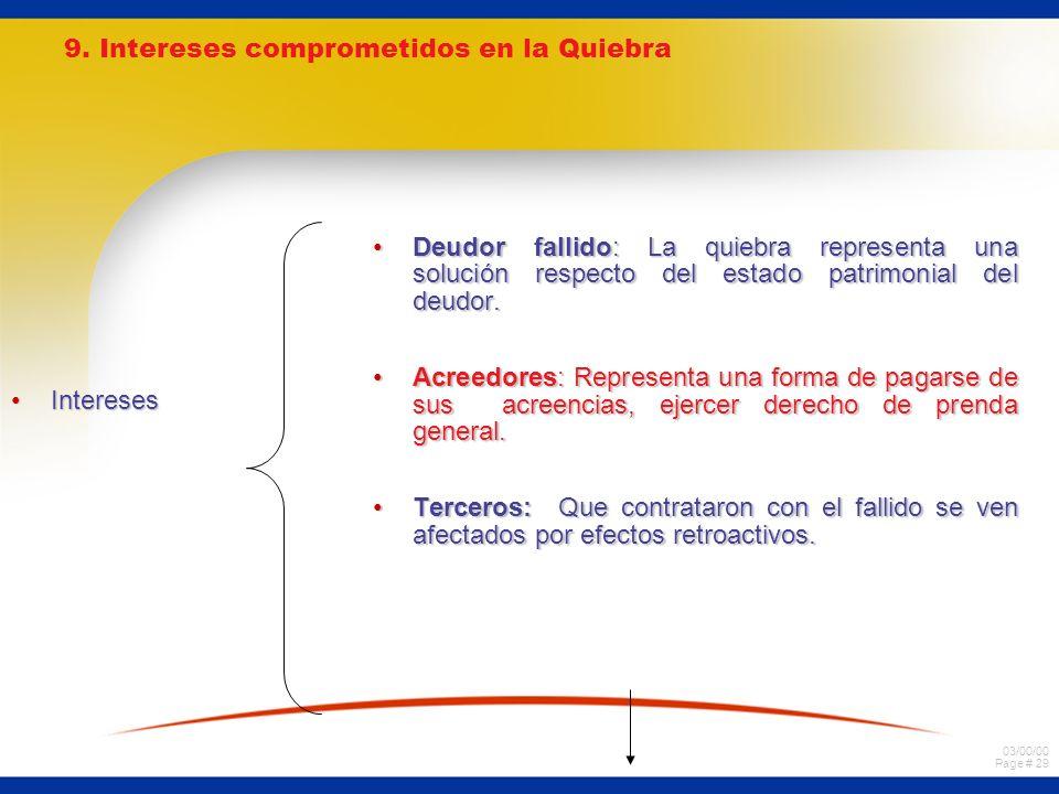 9. Intereses comprometidos en la Quiebra