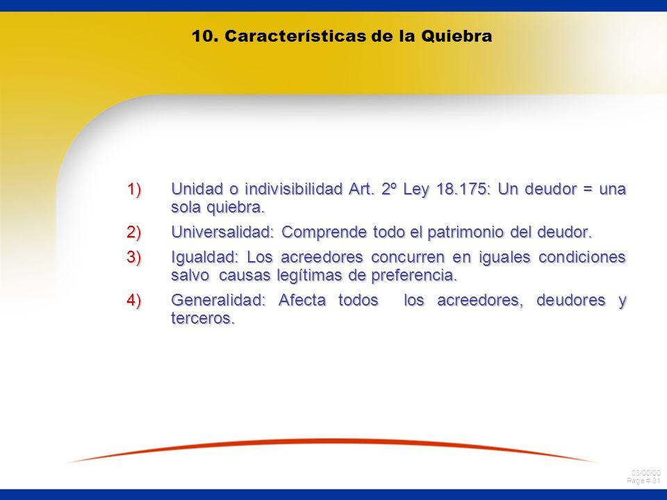 10. Características de la Quiebra