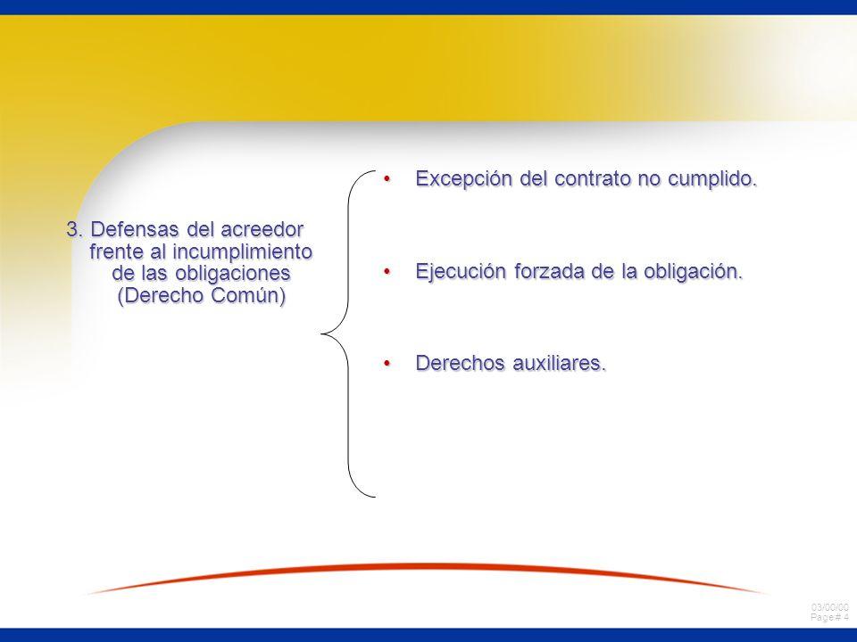 3. Defensas del acreedor frente al incumplimiento de las obligaciones (Derecho Común)