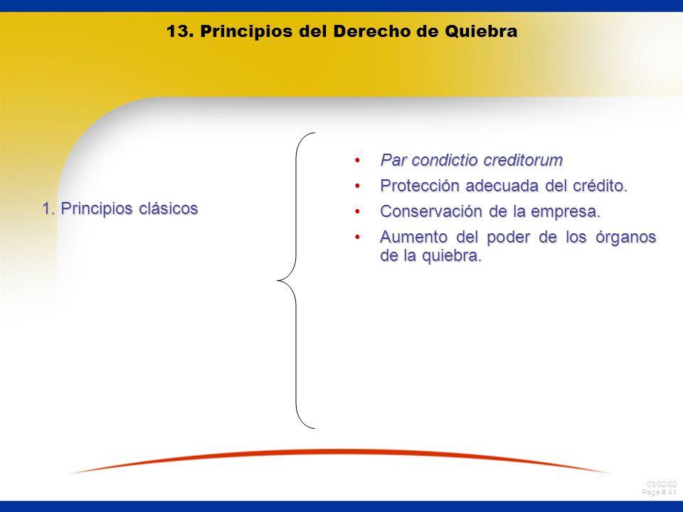 13. Principios del Derecho de Quiebra