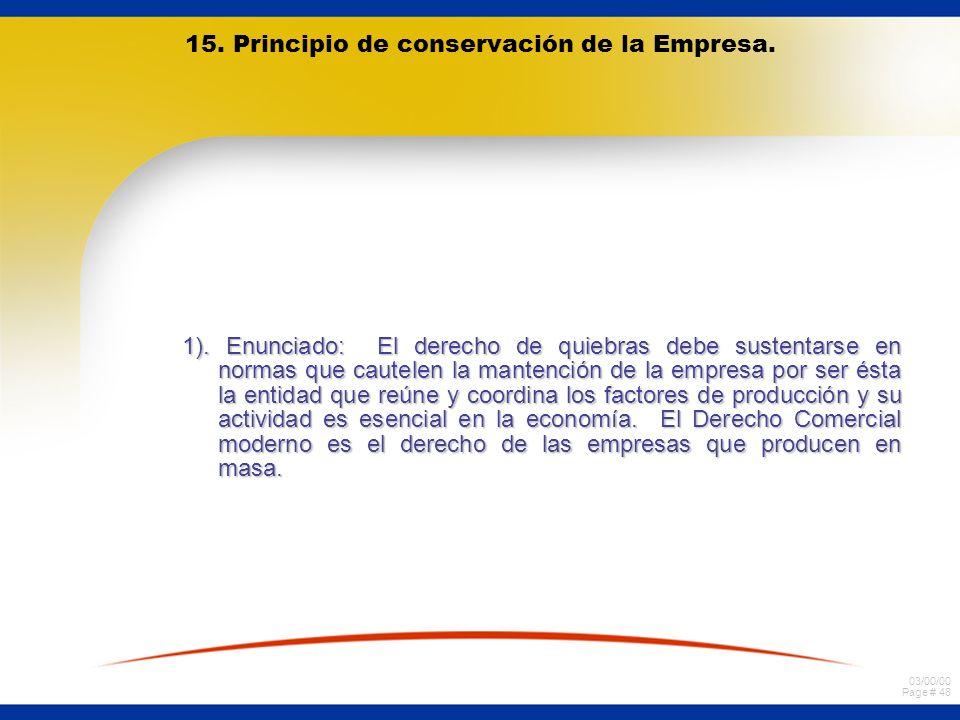 15. Principio de conservación de la Empresa.