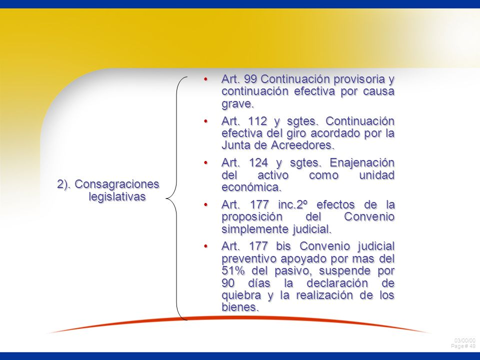 2). Consagraciones legislativas