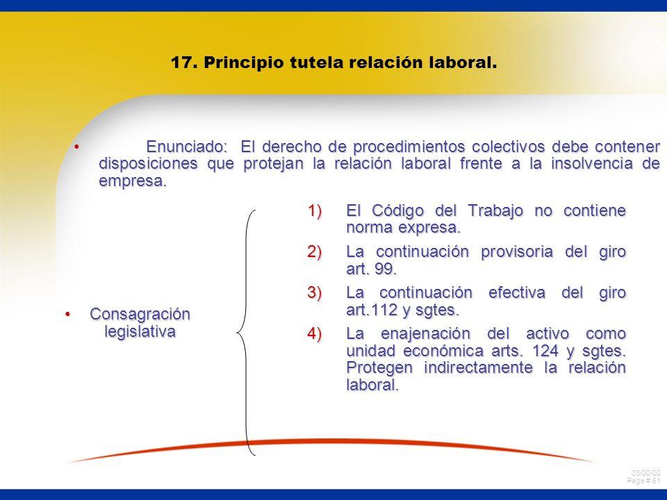 17. Principio tutela relación laboral.
