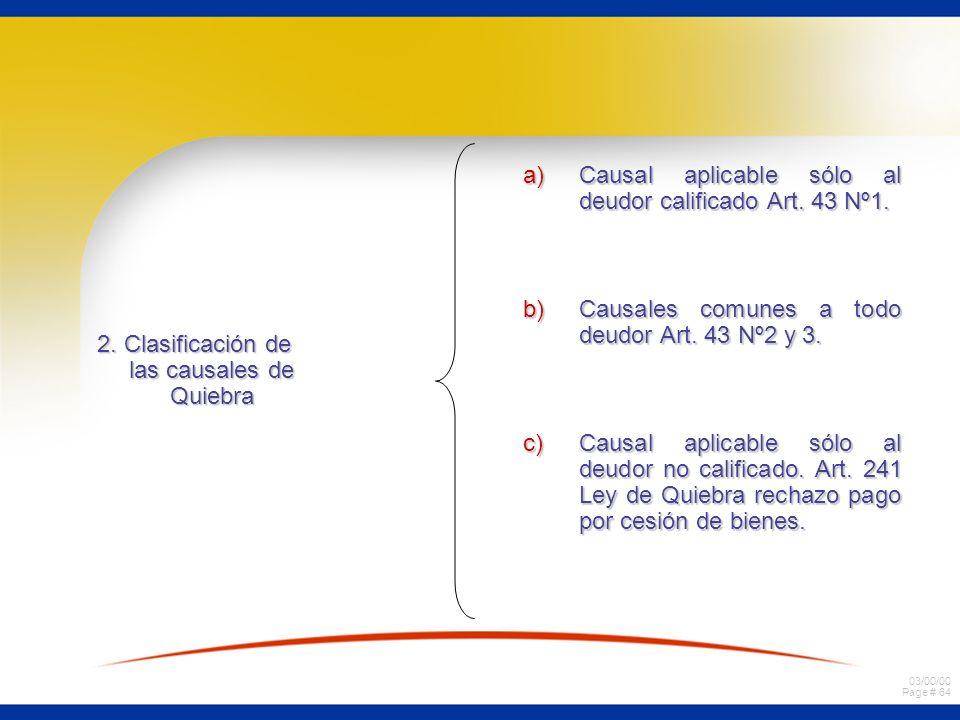 2. Clasificación de las causales de Quiebra