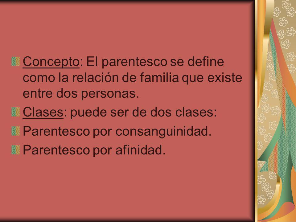 Concepto: El parentesco se define como la relación de familia que existe entre dos personas.