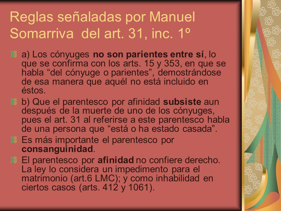 Reglas señaladas por Manuel Somarriva del art. 31, inc. 1º
