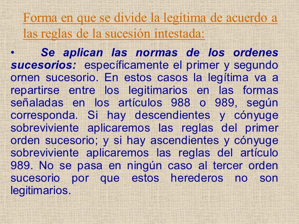 Forma en que se divide la legítima de acuerdo a las reglas de la sucesión intestada: