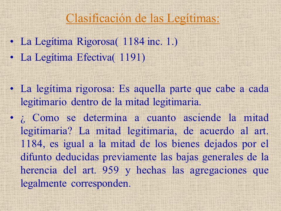 Clasificación de las Legítimas: