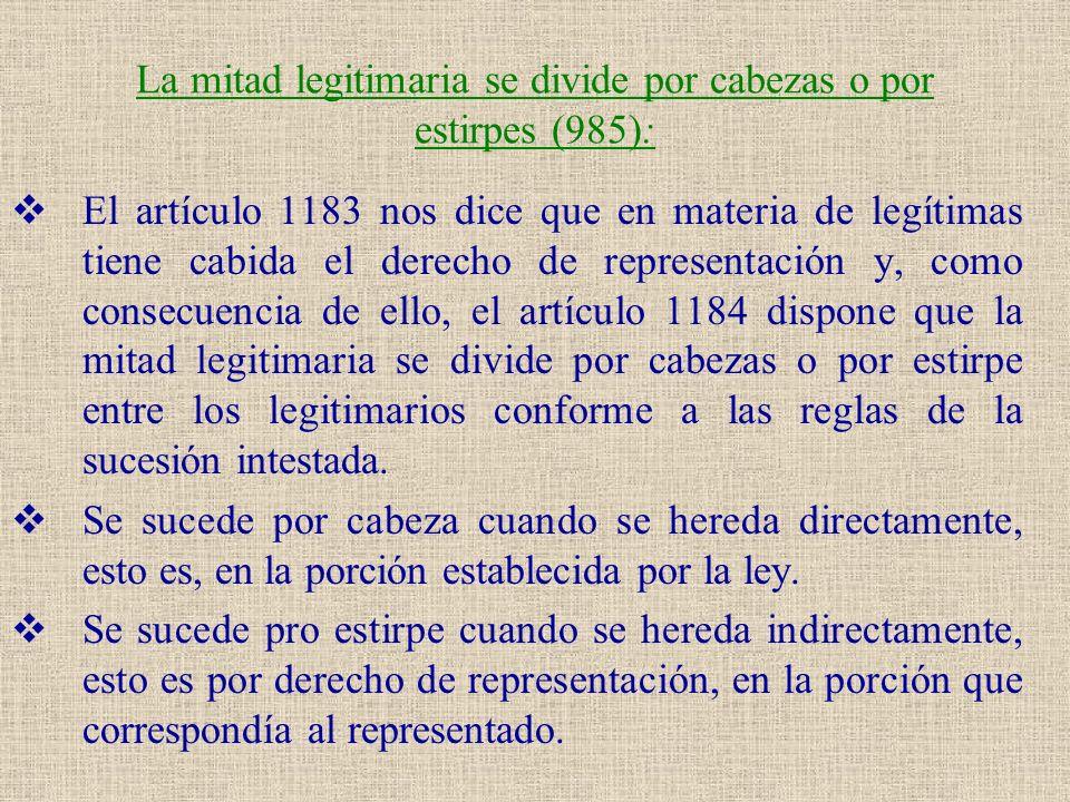 La mitad legitimaria se divide por cabezas o por estirpes (985):