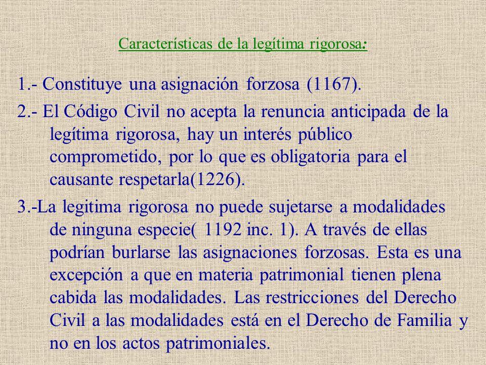 Características de la legítima rigorosa: