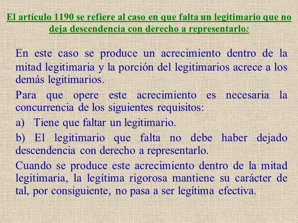 El artículo 1190 se refiere al caso en que falta un legitimario que no deja descendencia con derecho a representarlo: