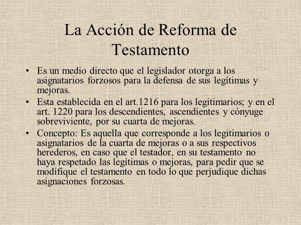 La Acción de Reforma de Testamento