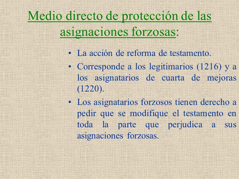 Medio directo de protección de las asignaciones forzosas: