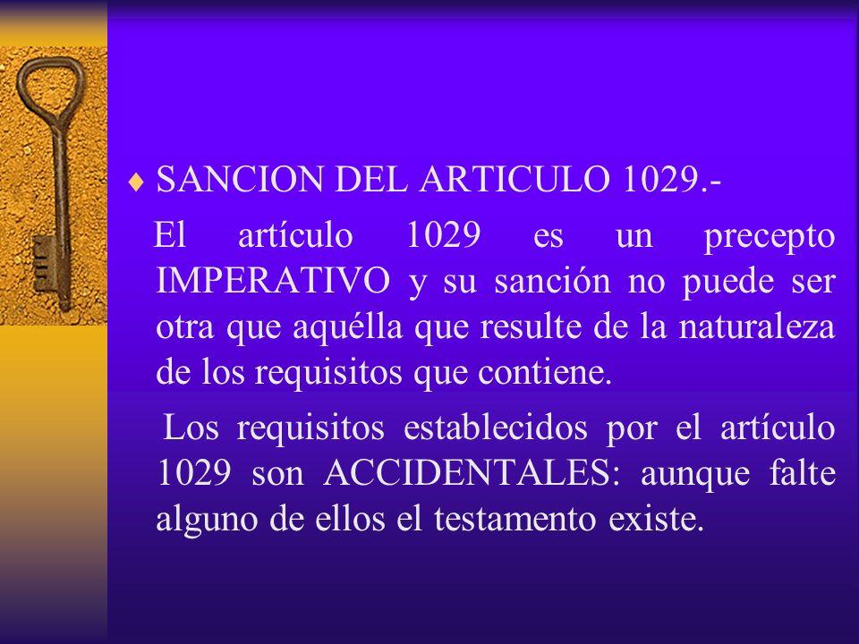 SANCION DEL ARTICULO 1029.-