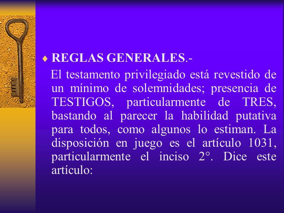 REGLAS GENERALES.-