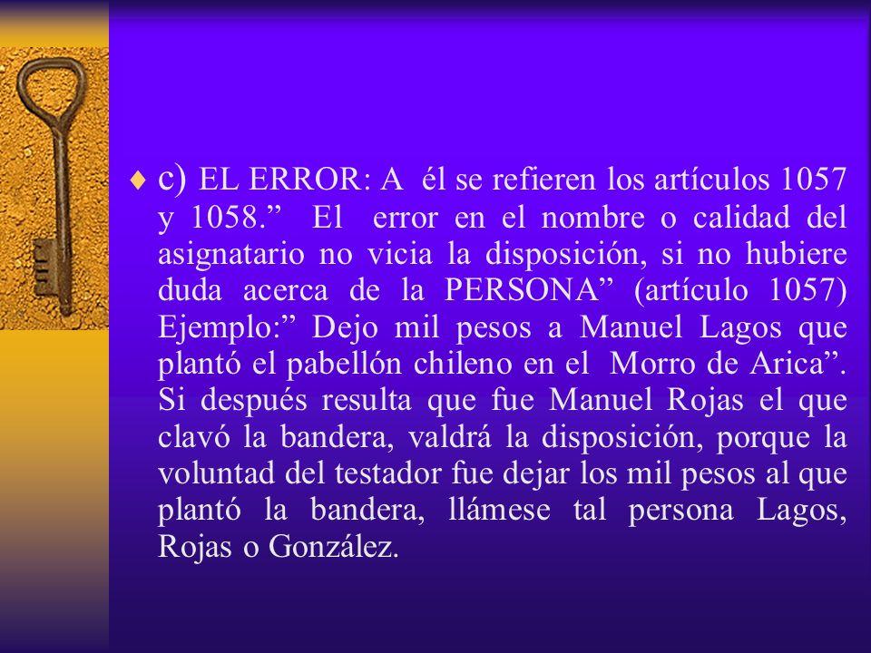 c) EL ERROR: A él se refieren los artículos 1057 y 1058