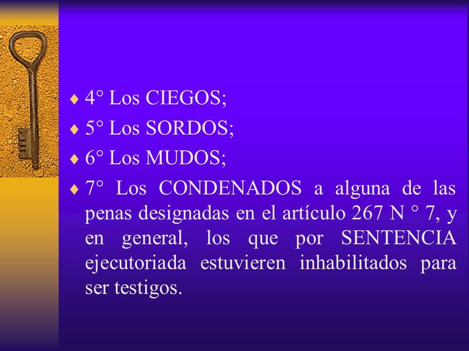 4° Los CIEGOS; 5° Los SORDOS; 6° Los MUDOS;
