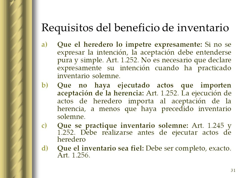 Requisitos del beneficio de inventario