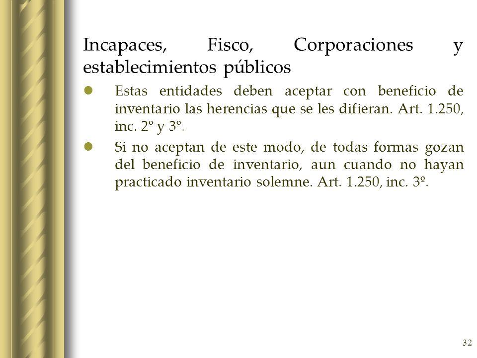 Incapaces, Fisco, Corporaciones y establecimientos públicos
