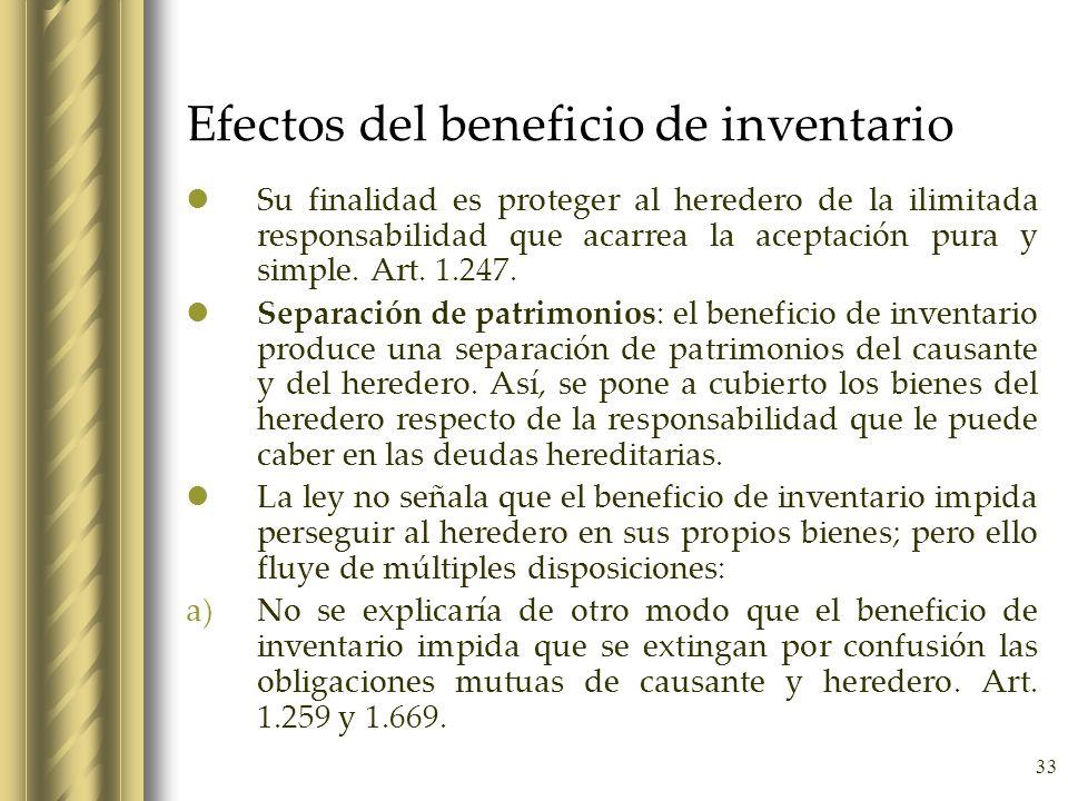 Efectos del beneficio de inventario