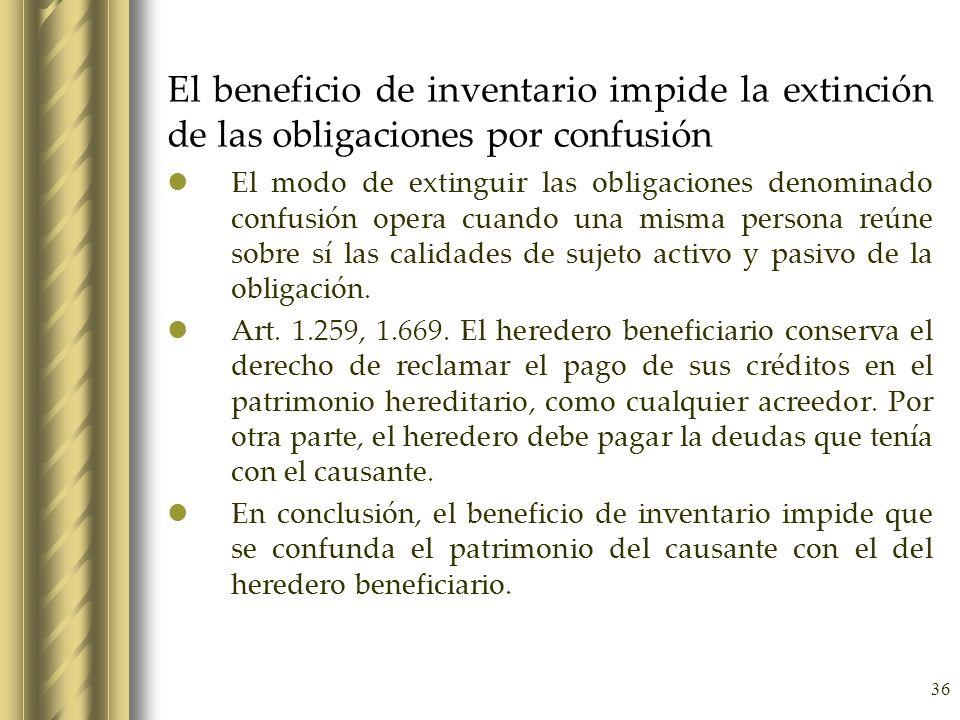El beneficio de inventario impide la extinción de las obligaciones por confusión