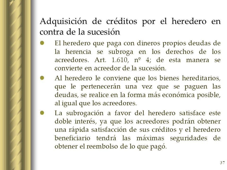 Adquisición de créditos por el heredero en contra de la sucesión