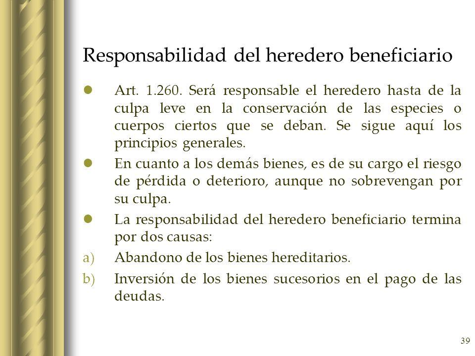 Responsabilidad del heredero beneficiario