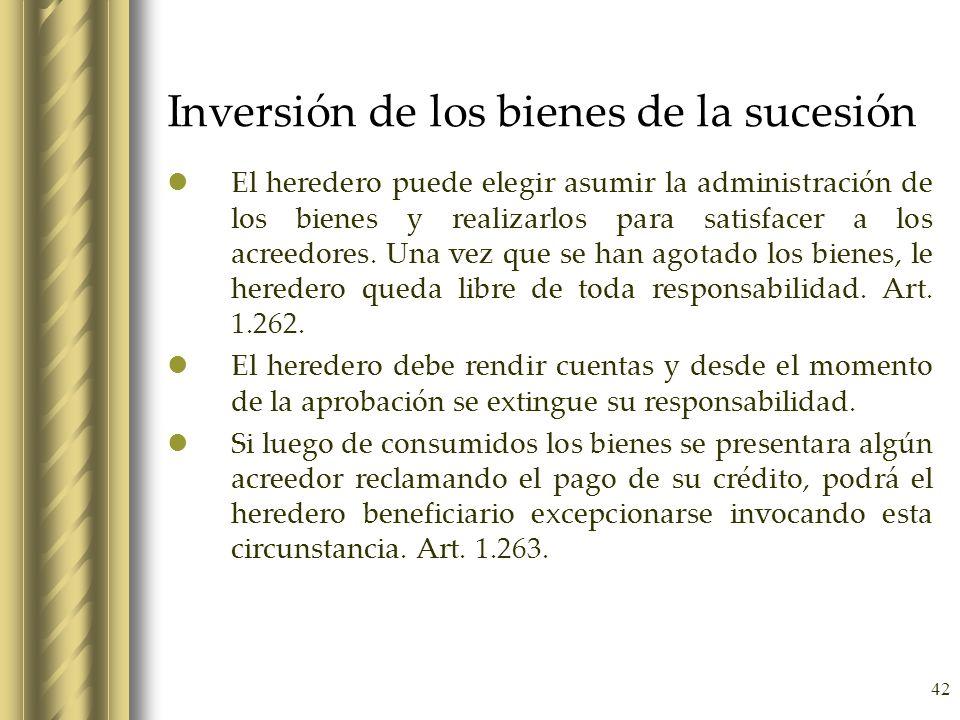 Inversión de los bienes de la sucesión