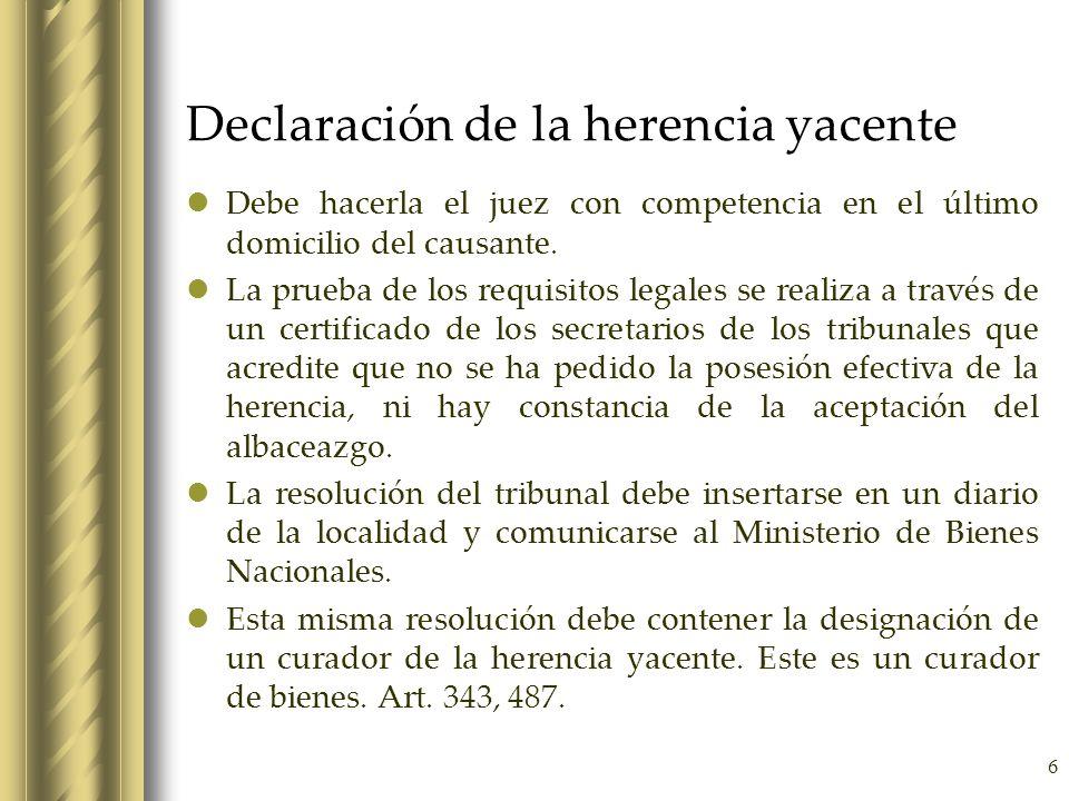 Declaración de la herencia yacente