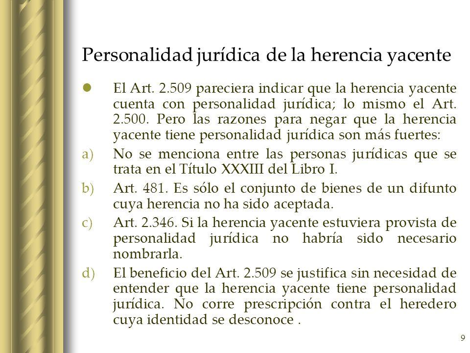 Personalidad jurídica de la herencia yacente