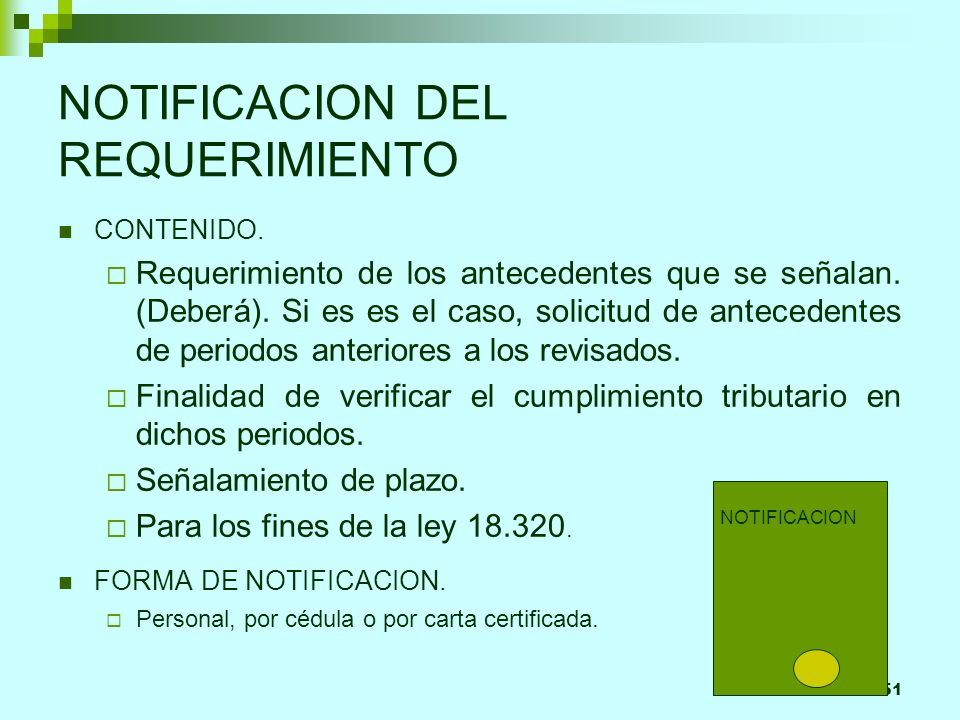NOTIFICACION DEL REQUERIMIENTO