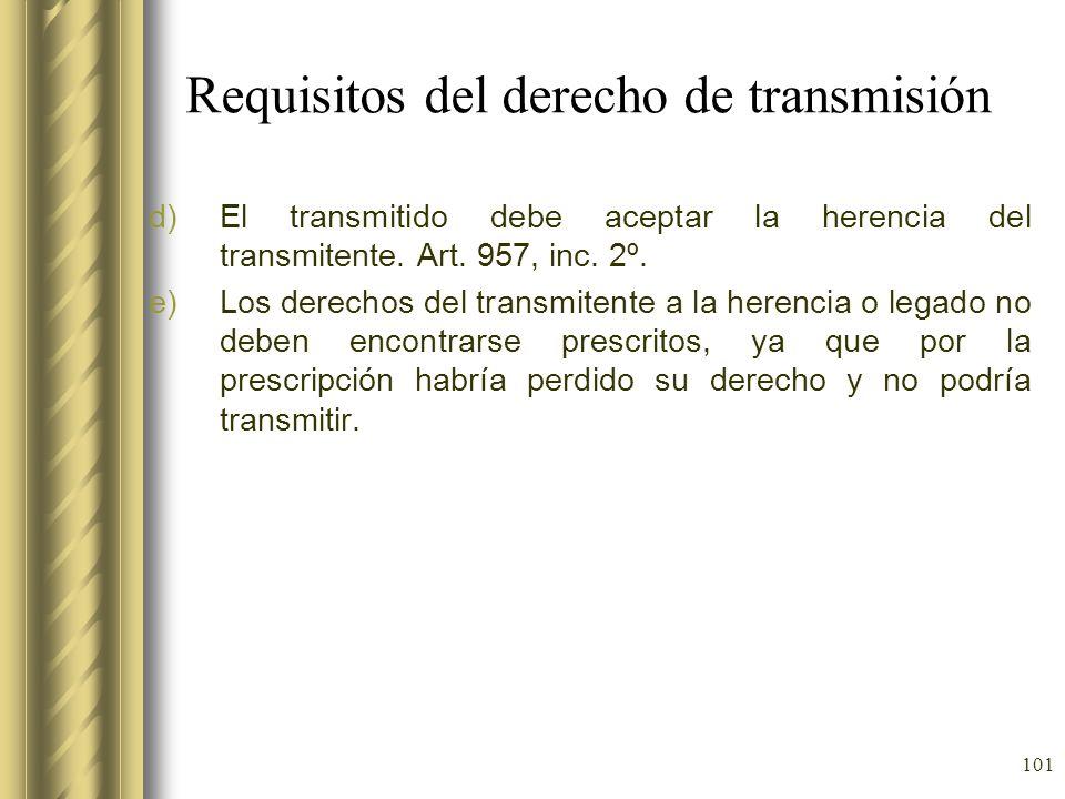 Requisitos del derecho de transmisión
