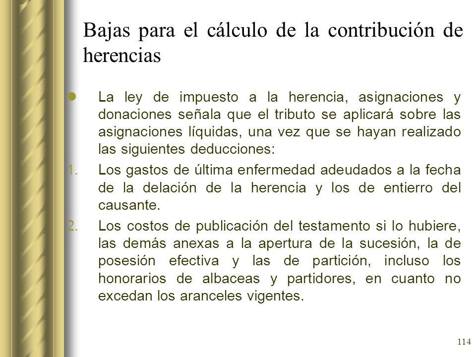 Bajas para el cálculo de la contribución de herencias