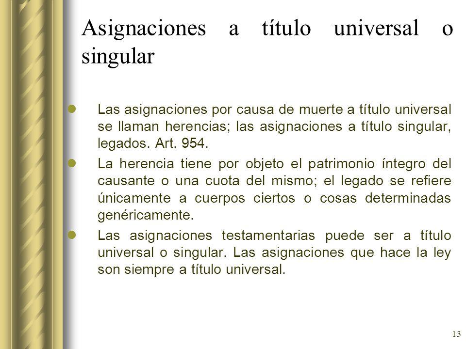 Asignaciones a título universal o singular