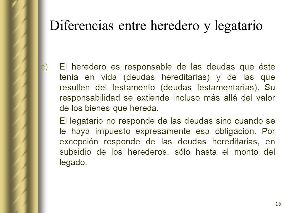 Diferencias entre heredero y legatario