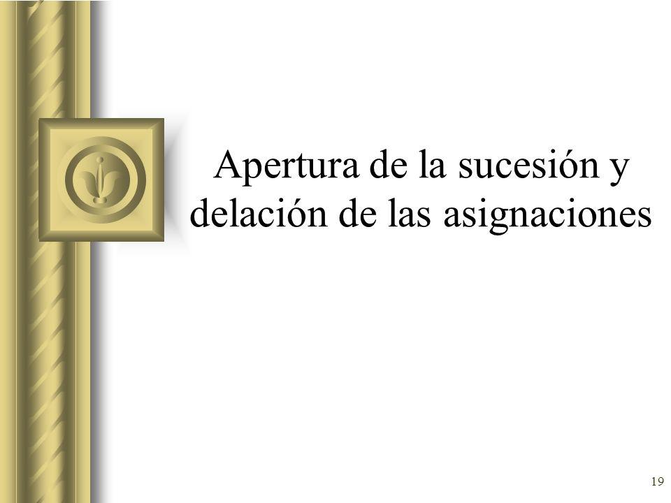 Apertura de la sucesión y delación de las asignaciones