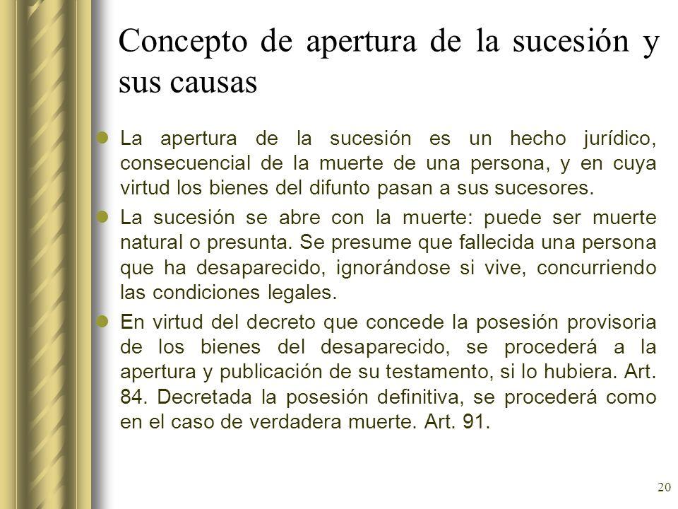 Concepto de apertura de la sucesión y sus causas