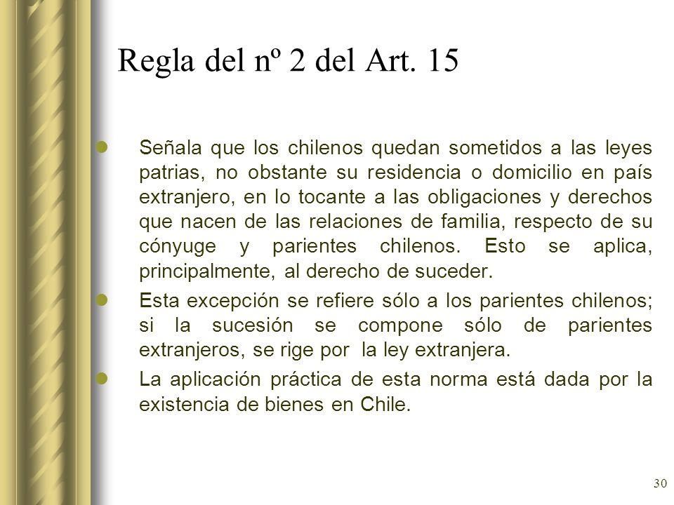 Regla del nº 2 del Art. 15