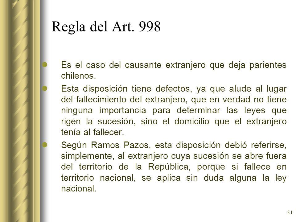 Regla del Art. 998 Es el caso del causante extranjero que deja parientes chilenos.
