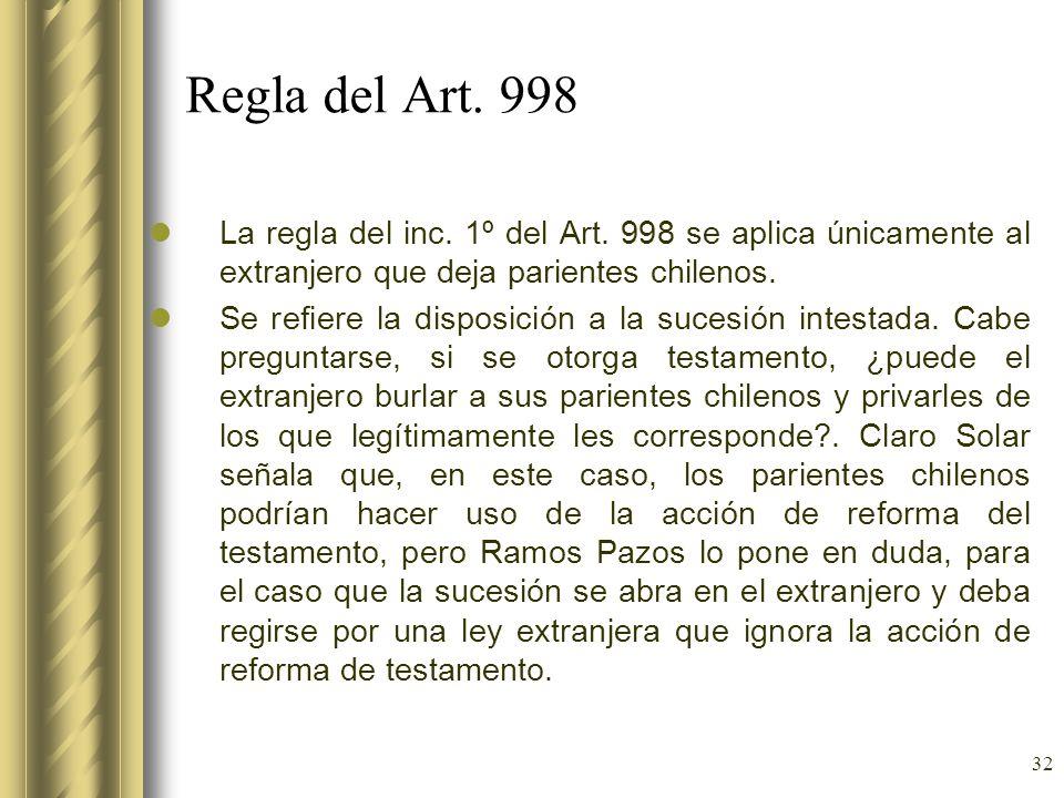Regla del Art. 998 La regla del inc. 1º del Art. 998 se aplica únicamente al extranjero que deja parientes chilenos.
